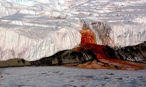 Водопад кровавого цвета в Антарктиде